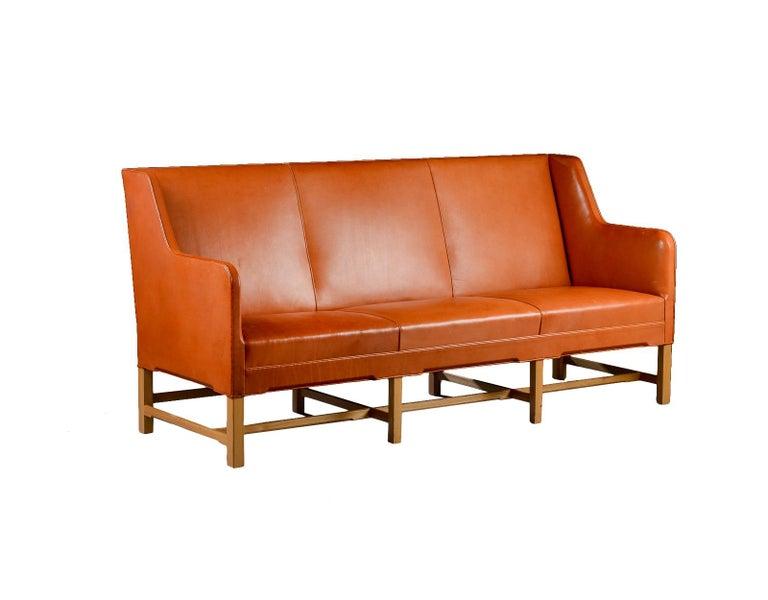 Mid-20th Century Kaare Klint Three-Seat Sofa in Original Cognac Leather Rud, Rasmussen Danish For Sale