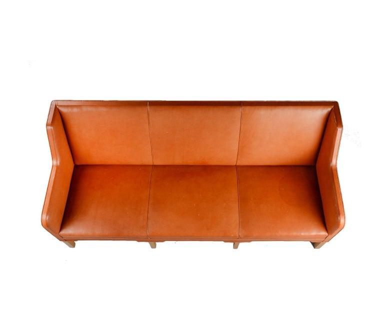 Kaare Klint Three-Seat Sofa in Original Cognac Leather Rud, Rasmussen Danish For Sale 1