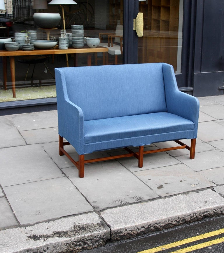 Kaare Klint Two-Seat Model 4118 Settee Made by Rud Rasmussen, circa 1940 In Good Condition For Sale In London, GB