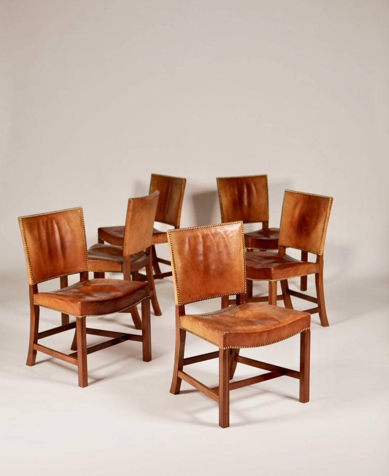 Scandinavian Modern Kaare Klint, Set of Six 'Barcelona' Dining Chairs, Model 3758 For Sale