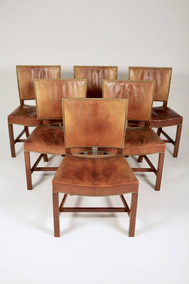 Danish Kaare Klint, Set of Six 'Barcelona' Dining Chairs, Model 3758 For Sale
