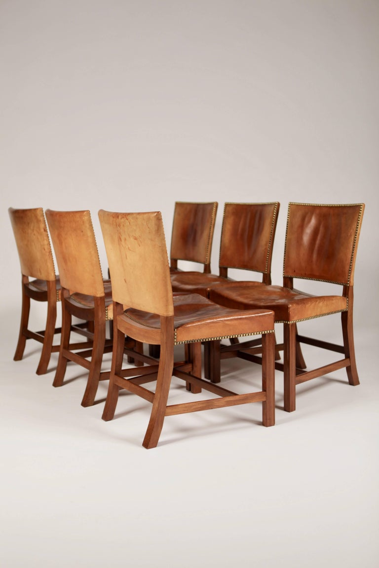 Kaare Klint, Set of Six 'Barcelona' Dining Chairs, Model 3758 In Excellent Condition For Sale In Hamburg, Hamburg