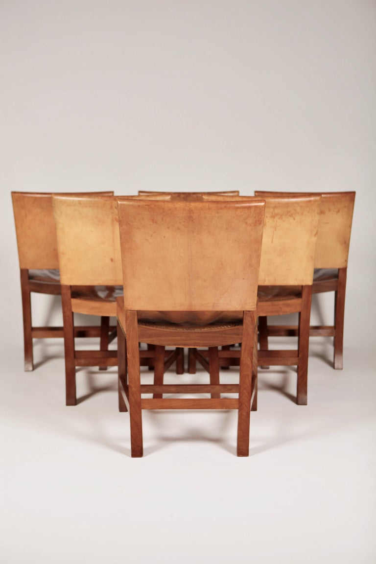 Mid-20th Century Kaare Klint, Set of Six 'Barcelona' Dining Chairs, Model 3758 For Sale