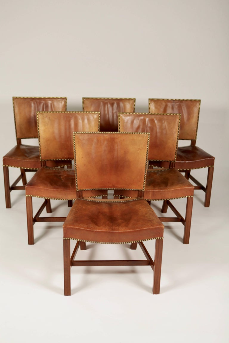 Kaare Klint, Set of Six 'Barcelona' Dining Chairs, Model 3758 For Sale 1