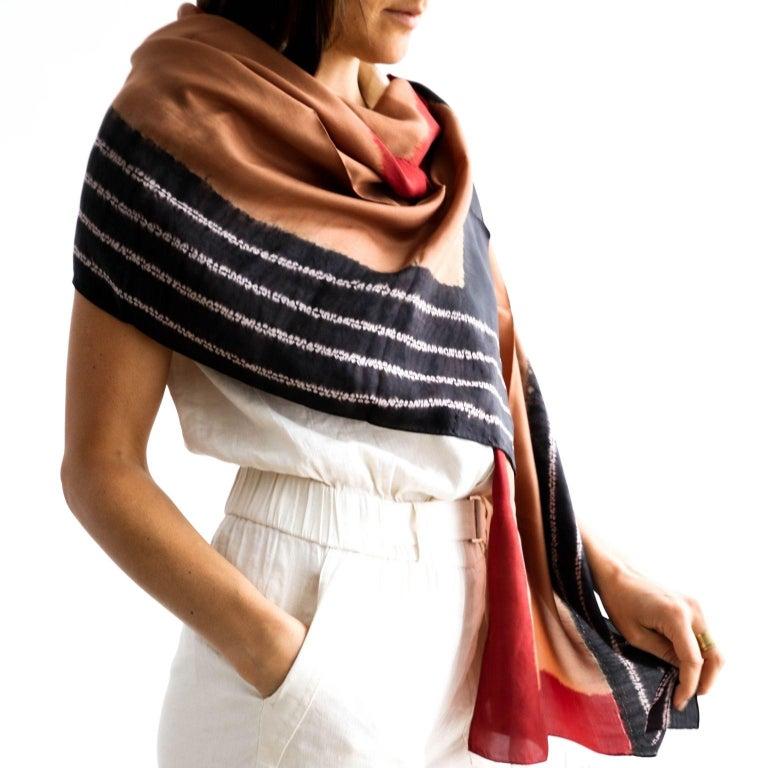 Modern Kaavi Silk Shibori  Scarf / Wrap  For Sale