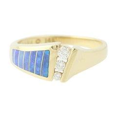 Kabana .13 Carat Round Brilliant Diamond and Opal Ring, 14 Karat Yellow Gold