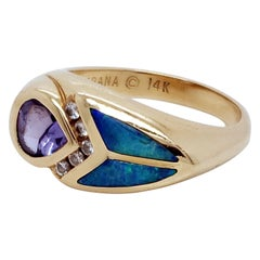 Kabana 14 Karat Yellow Gold, Tanzanite, Opal and Diamond Ring