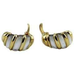 Kabana 14 Karat Yellow Solid Gold Mother of Pearl Inlay Earrings
