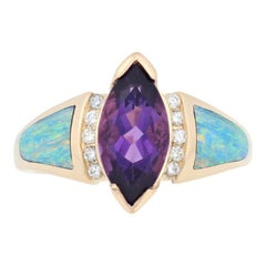 Kabana 1.75 Carat Marquise Cut Amethyst, Opal, and Diamond Ring 14k Yellow Gold