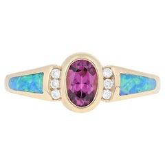 Kabana .61 Carat Oval Brilliant Rhodolite Garnet Opal, and Diamond Ring 14k Gold