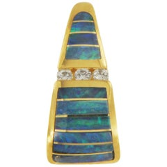 Kabana Australian Opal and Diamond Pendant in 14 Karat Yellow Gold