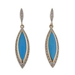 Kabana Gold Turquoise Diamond Earrings