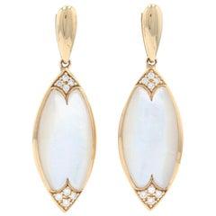 Kabana Mother of Pearl & Diamond Dangle Earrings Yellow Gold 14k Gold Rnd .14ctw