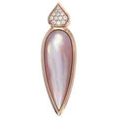 Kabana Mother of Pearl & Diamond Teardrop Pendant Rose Gold 14k Round Brilliant