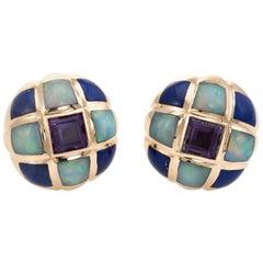 Kabana Opal Amethyst Lapis Lazuli Earrings Estate Round Stud 14 Karat Gold