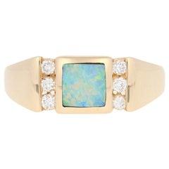 Kabana Opal and Diamond Ring, 14 Karat Gold Round Cut .18 Carat