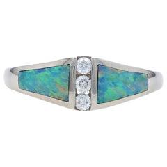 Kabana Opal and Diamond Ring, 14 Karat White Gold Round Cut .12 Carat