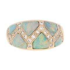 Kabana Opal and Diamond Ring, 14 Karat Yellow Gold