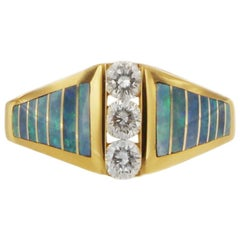 Kabana Opal and Diamond Ring 14 Karat Yellow Gold