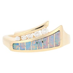 Kabana Opal and Diamond Ring, 14 Karat Yellow Gold Round Cut .13 Carat