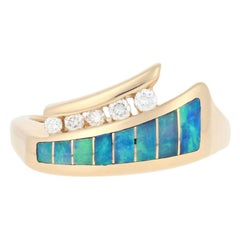 Kabana Opal and Diamond Ring, 14 Karat Yellow Gold Round Cut .13 Carat