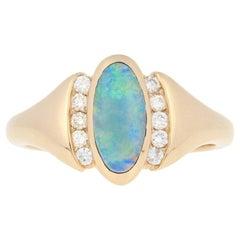 Kabana Opal and Diamond Ring, 14 Karat Yellow Gold Round Cut .15 Carat