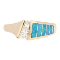 Kabana Opal and Diamond Ring, 14 Karat Yellow Gold Women's .13 Carat