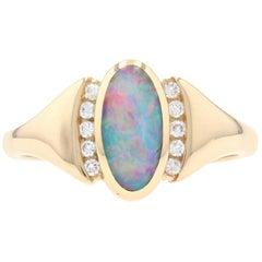 Kabana Opal and Diamond Ring Yellow Gold, 14 Karat Cabochon Cut .15 Carat