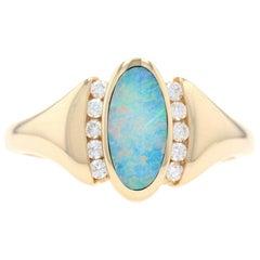 Kabana Opal and Diamond Ring Yellow Gold, 14 Karat Oval Cabochon .15 Carat
