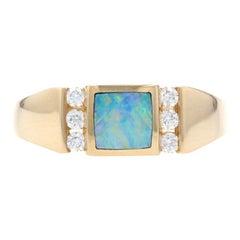 Kabana Opal and Diamond Ring Yellow Gold, 14 Karat Square Cabochon .18 Carat