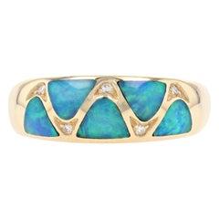 Kabana Opal and Diamond Ring Yellow Gold, 14 Karat Women's