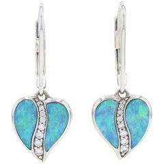 Kabana Opal and Diamond Heart Leaf Dangle Earrings White 14k Round Cut .15 Carat