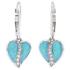 Kabana Opal & Diamond Heart Leaf Dangle Earrings White Gold, 14k Round .15 Carat