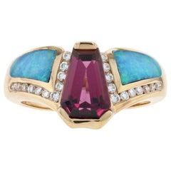 Kabana Rhodolite Garnet, Opal, Diamond Ring Yellow Gold, 14 Karat .18 Carat