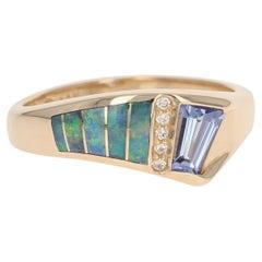 Kabana Tanzanite, Opal, and Diamond Ring, 14 Karat Gold Women's .52 Carat