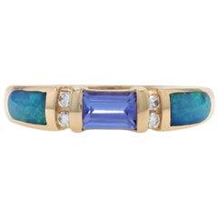 Kabana Tanzanite, Opal, and Diamond Ring, 14 Karat Gold Women's .66 Carat