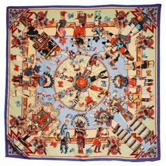 Kachinas Hermes carré scarf by Kermit Oliver 1992