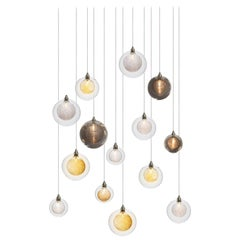 Kadur Drizzle 14, Blown Mixed Glass Dining Room Chandelier by Shakuff