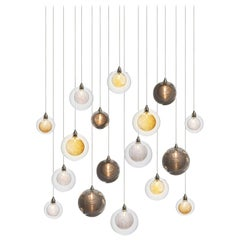 Kadur Drizzle 17, Mixed Blown Glass Pendant Dining Room Chandelier by Shakuff