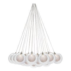 Kadur Drizzle 19 Cluster, Four Inch Blown Glass Livingroom Chandelier by Shakuff