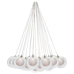 Kadur Drizzle 19 Cluster, Five Inch Blown Glass Livingroom Chandelier by Shakuff