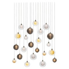 Kadur Drizzle 22, Mixed Blown Glass Pendant Dining Room Chandelier by Shakuff