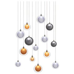 Kadur Frost 14, Blown Mixed Sized Glass Dining Room Chandelier by Shakuff