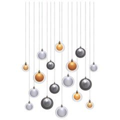 Kadur Frost 17, Blown Mixed Sized Glass Dining Room Chandelier by Shakuff