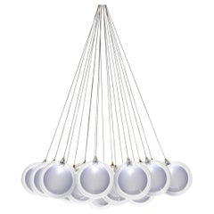 Kadur Frost 19 Cluster, Four Inch Blown Glass Livingroom Chandelier by Shakuff