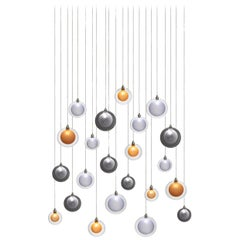 Kadur Frost 22, Blown Mixed Sized Glass Dining Room Chandelier by Shakuff