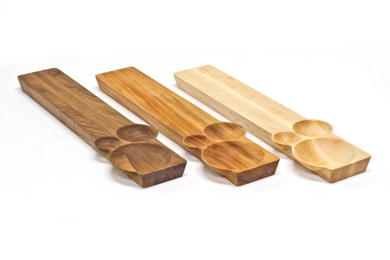Kafi 3 Cheese Board in Oiled Walnut by Martin Leugers & Tricia Wright for Wooda For Sale 1
