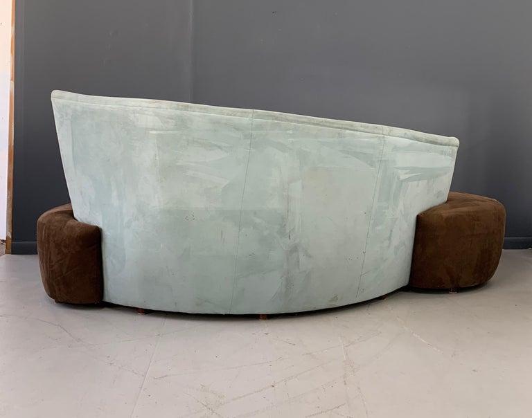 Ultrasuede Postmodern Curved sofa For Sale