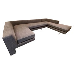 """Kagan Sectional """"Omnibus"""" Sofa w/ Lucite Legs & Smoked Taupe Tweed by Holly Hunt"""