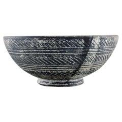 Kähler, Denmark, Bowl in Glazed Stoneware, Beautiful Gray-Black Double Glaze